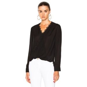 NWT L'Agence Rosario Silk Top in Black size Small